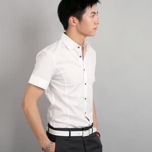 China Men's slim fit shirts » Men's Business White Short Sleeve Slim Fit Cotton Shirts on sale