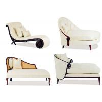 Fabric Reclining Chaise Hotel Lounge Chairs Solid Wood Carved High Standard