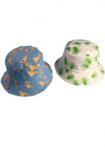 China Summer Multi Color Plain Bucket Hat Leaf Print / Sun Visor Hats For Women on sale