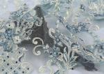 Fashion Embroidery Mesh Lace Fabric Hand Beaded Plain Style For Wedding