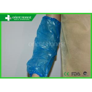 China OEM Waterproof Disposable Plastic Arm Sleeves , 20x40cm , Blue on sale