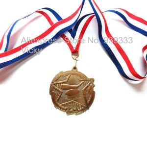 Custom metal blank engraved hockey medals with ribbon, antique brass