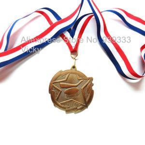 Custom metal blank engraved hockey medals with ribbon