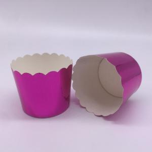 China Romantic Purple Laser Cut Cupcake Wrappers , Greaseproof Foil Cupcake Cases on sale