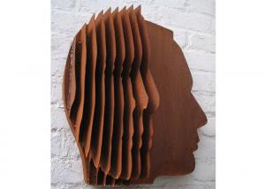 China Abstract Rusty Color Corten Steel Face Sculpture Wall Decoration on sale