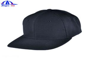 China Custom Black Team Baseball Hats With Embroidered Logo 6 Panel Plush Style on sale