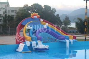 China 0.55mm PVC Tarpaulin Four Lane Inflatable Rainbow Water Slide For Water Park Games on sale