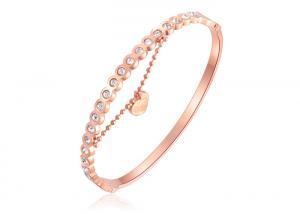China Stainless Steel Rose Gold Diamond Bangle Bracelet / Rose Gold Charm Bracelet on sale