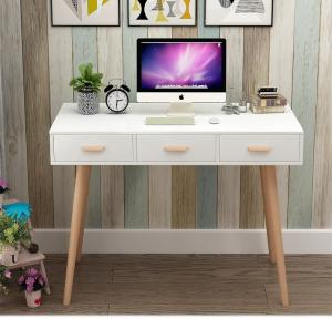 China Nordic Style White Office Wood Computer Desk With Three Sliding Drawers on sale