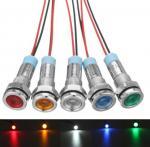 12V 6mm LED Indicator Light Pilot Dash Lamp Motorccyle Car Truck Boat Metal