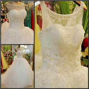 China Gorgeous Beaded Lace Bride Dress 2015 Sequined Tulle Floor-length Wedding Dress with Bow Vestidos Noiva Free Shipping on sale