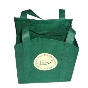 China Reusable Non Woven Carry Bags Promotional Gift Totes in Green Purple on sale