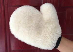 China Auto Detailing Real Car Cleaning Gloves , Ultra Soft Wool Car Wash Mitt  on sale
