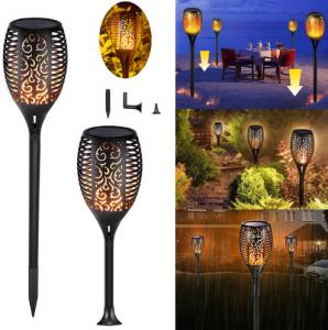 China Outdoor Garden Waterproof  IP65 96LED Solar Powered LED Flame Garden Lights on sale