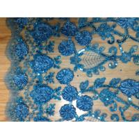 Blue Sequin Embroidered Fabric For Party , Tulle Lace Fabric