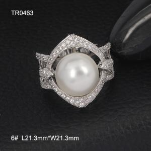 China OLF Hot Sale Elegant Ladies 925 Sterling Silver Evening Party Pearl & Zircon Ring on sale