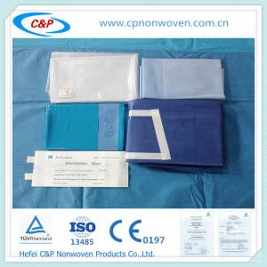 Quality nonwoven abdominal surgery factory price Laparotomy drape pack for sale