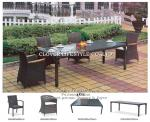 ANNE flat wicker with teak arm DINING SET for Hotel, Garden and Beach by Clover Lifestyle Outdoor Furniture China
