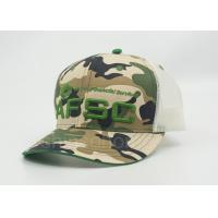 China Personalized Green Mesh Snapback Trucker Camouflage Hats , Camo Ball Caps on sale