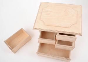 China Cosmetics Packaging Wooden Storage Box , Handmade Wooden Jewelry Box With Compartments Partitions on sale