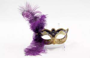 China Purple Funny Feather Masquerade Mask For Halloween / Mardi Gras on sale