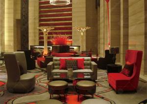 China Red Hotel Waiting Room Furniture , Contemporary Reception Office Lobby Furniture on sale