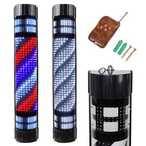 China Spinning Sign Rotating Barber Pole Salon Hair Shop Beauty Red White Blue Strips on sale