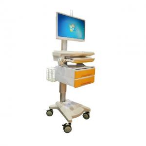 China Hospital Laptop Computer Workstation Trolley With Electrically Adjustable Height on sale