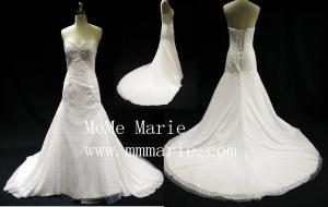 China Eiffel Sexy backless V-neckline applique lace chepel train wedding dress BYB-14599 on sale