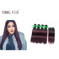 1B 99J Indian Straight Human Hair Weave / Middle Part Indian Remy Hair Bundles