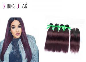 China 1B 99J Indian Straight Human Hair Weave / Middle Part Indian Remy Hair Bundles on sale