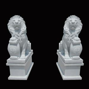 China White Garden Cast Iron Decor Carved Stone Pair Animals Lion Polished Finishing on sale
