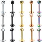 Surgical Steel Assorted Colors Zircon Labret Stud Lip Piercing Ear Cartilage Tragus Helix Ring Fashion Charming Jewelry