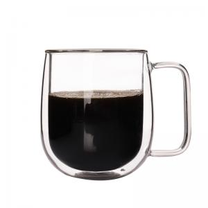 China Double Wall Glass Mugs Coffee Cup For Kitchen Dining Bar Office Home School on sale