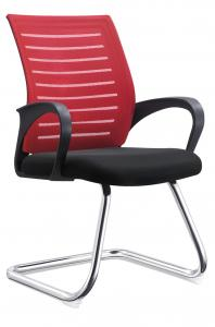 China Red PU Leather Conference Chairs , Non Swivel Office Chair Water Resistant on sale