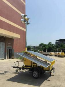China Solar light tower solar trailer optional backup diesel generator manual winch hydraulic or pneumatic mast pole 7m~12m DC on sale