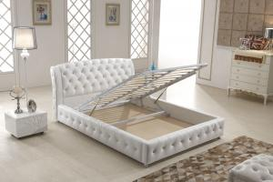China Home Italian Leather Bed , Italian White Leather Bed With Storage Gas Lift on sale
