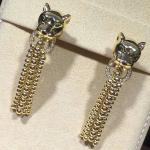Panther Shaped Cartier Diamond Earrings , 18K Yellow Gold Vintage Cartier Earrings