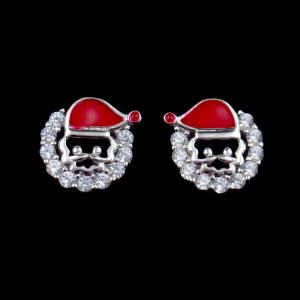 China Fashionable 925 Sterling Silver Jewelry Santa Claus Stud Earrings For Anniversary on sale
