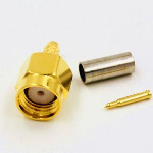 China rp sma male connector RP-SMA Crimp Plug(female pin) connector for LMR195 RG58 reverse sma antenna on sale