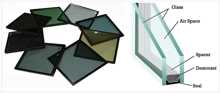 6mm+12A+6mm Aluminum Structural Curtain Wall Double Tempered Tinted Vacuum Insulated Glass