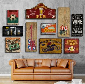 China Custom Mdf Restaurant Novelty Tin Plaque Wall Decor Hanging Vintage Wooden Signs Home Decor on sale