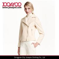 Diagonal front zip Fitted biker jacket in felted wool blend with side pockets