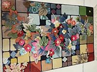 China beautiful flower design silk carpet , colorful pictures, handmade rug on sale