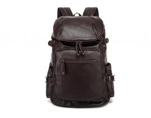 China Brown PU Leather Large Mountain Casual Backpack Canvas 28*18*45cm on sale