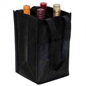 China NonWoven Four Bottle Wine Bag Reusable Wine Bag with Two Self-material Handles on sale