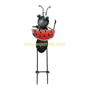 China Unique Ant Garden Stake With Watermelon Metal Garden Decoration Lively Colors Home Decor on sale