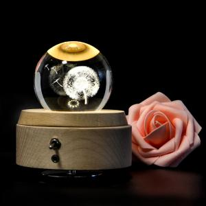 China 2018 new Rotating Wooden  crystal 3D led night light Music Box with Unique 3D inner engraving Tech on sale