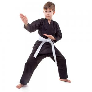China Customized Black Martial Arts Gi Childrens Karate Suits with canvas fabric on sale