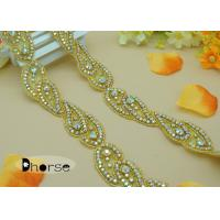 China Custom Gold Base AB stone Rhinestone Applique Trim For Dresses on sale